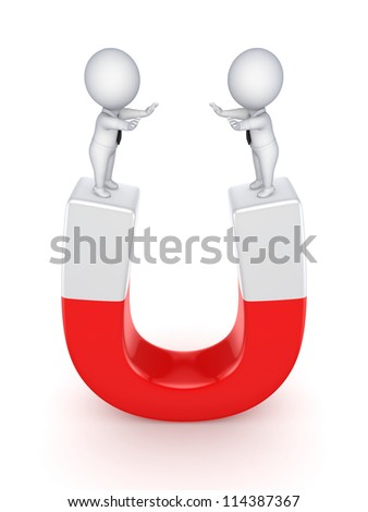 3d small people on a horseshoe.Isolated on white background.
