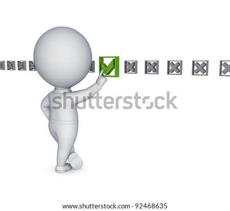 3d small person choosing a tick mark.Isolated on white background.
