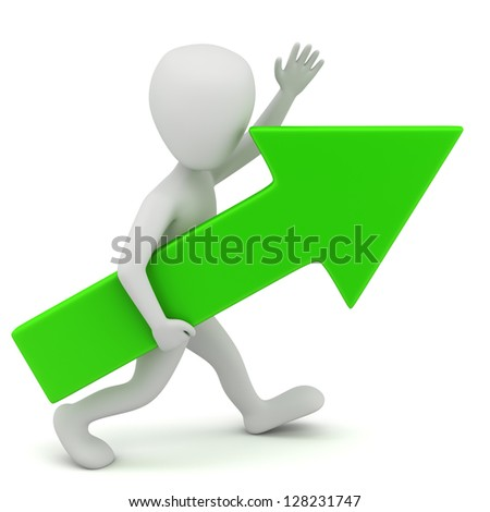 3d small person-green arrow. 3D image. On a white background.