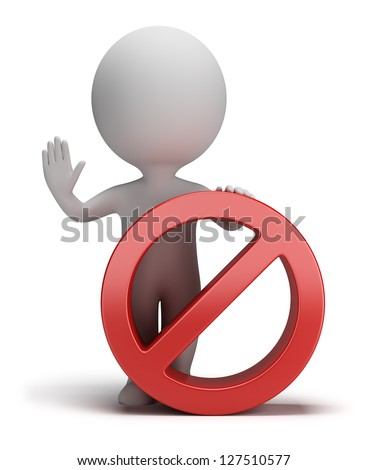 3d small person standing next to a stop sign. 3d image. White background.