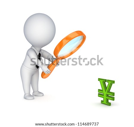 3d small person with a loupe and yen symbol.Isolated on white background.3d rendered.