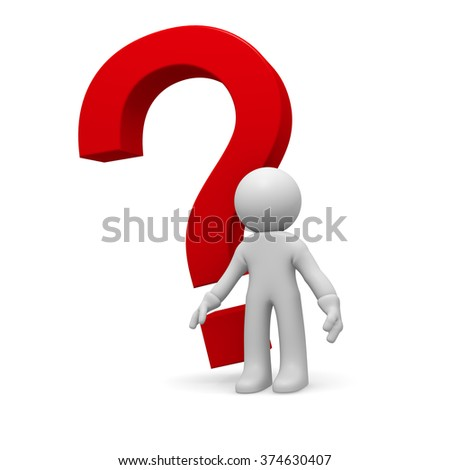3d small person with a red question mark on a white background