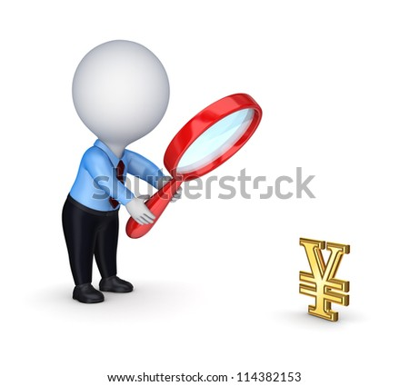3d small person with red loupe and dollar symbol.Isolated on white background.3d rendered.
