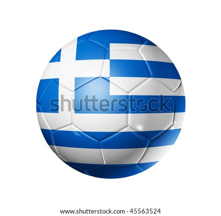 3D soccer ball with Greece team flag, world football cup 2014. isolated on white with clipping path