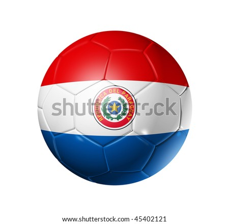 3D soccer ball with Paraguay team flag, world football cup 2010. isolated on white with clipping path