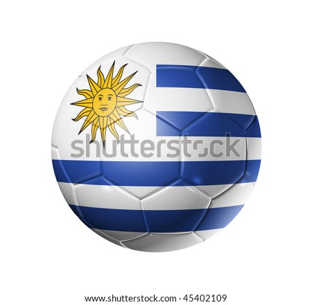 3D soccer ball with Uruguay team flag, world football cup 2014. isolated on white with clipping path