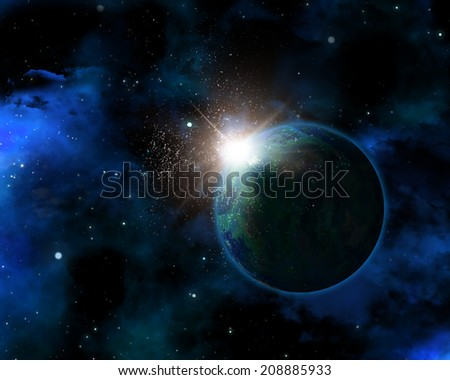 3D space themed background with fictional planet
