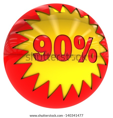 3d sphere with star and ninety percent with clipping path and isolated on white