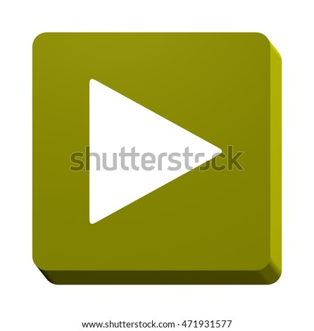 3d square play button isolated on white background. 3d render