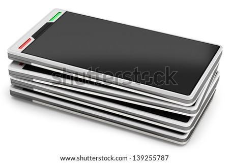 3d stack of smartphones isolated  on white background