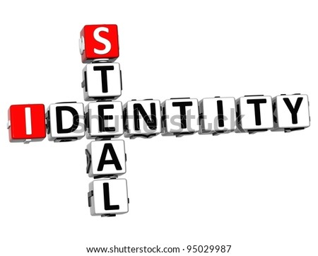 3D Steal Identity Crossword on white background