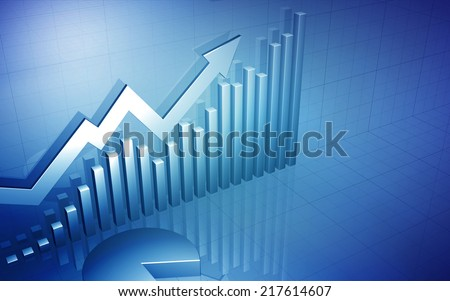 3D Stock Market Chart with blank space for text / Stock Market Up Arrow with Pie Chart