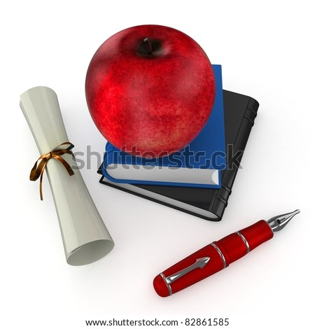 3d student books, pen and red apple at school on white background