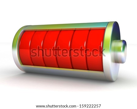 3D symbol Battery isolated on white background