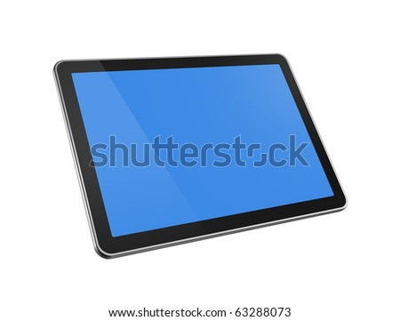 3D television, computer screen isolated on white with clipping path