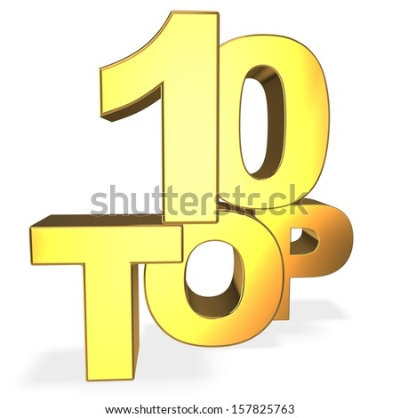 3d top 10 concept isolated on white