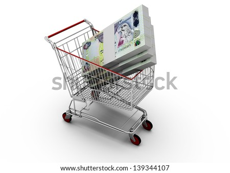 3D United Arab of Emirates money in shopping cart isolated on white background