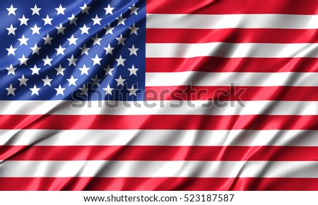 3d United States of America- USA waving flag render