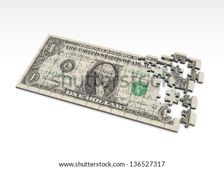3D US Dollar currency sign with flag