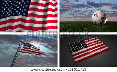 3D USA Flag, American Flag on Pole, On Soccer Ball, Abstract (3D Render Raster Graphic)