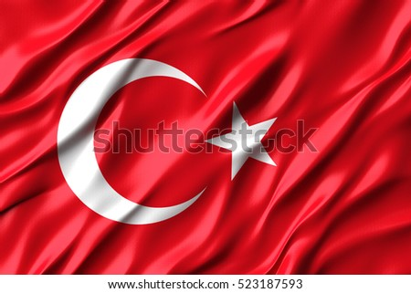 3d Waving colorful Turkish flag render