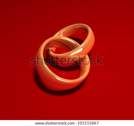 3d wedding rings on a red background