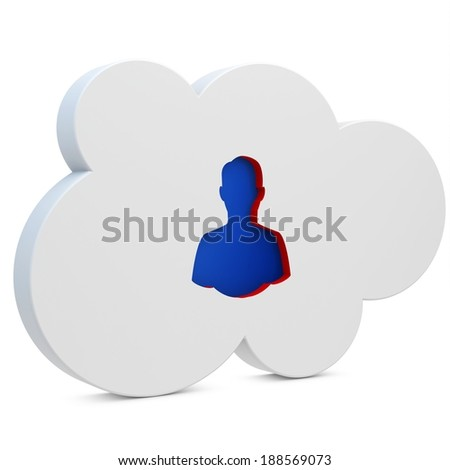 3d white cloud with user icon on white background