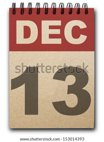 13  December calendar on recycle paper