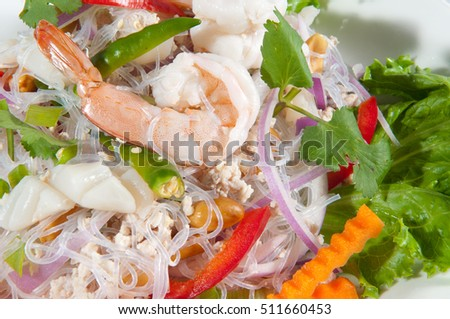 Delicious Thai food: Spicy noodle salad with seafood
