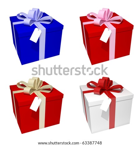 4 different gift boxes with label and ribbon