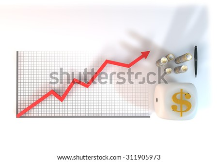 3 dimensions render concept image a risky business and succeed on white background