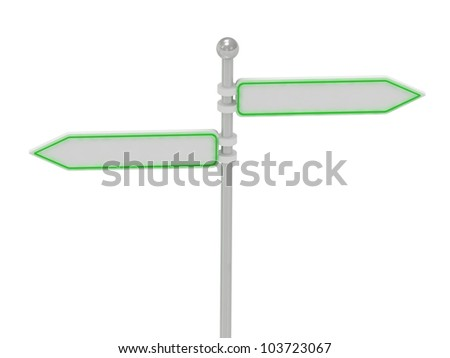 2 Directional signs in different directions, isolated over white, 3d render illustration