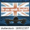 """Do you speak English?"" phrase on wide cinema screen - stock photo"