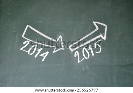 2014 down and 2015 up sign on blackboard