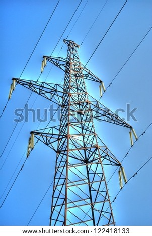 Electricity pylon and lines
