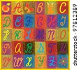 English alphabet for children on colorful quilt background - stock photo