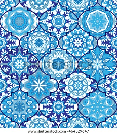 Vector Ethnic Colorful Bohemian Pattern Blue Stock Vector
