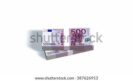 500 Euro bills packs with bank wrapper