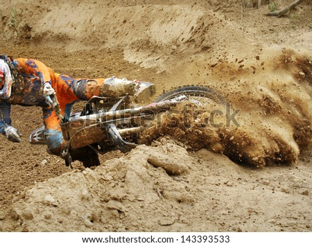 Fall of rider motocross