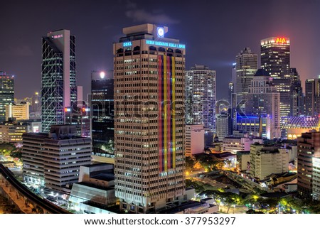 17 Februari 2016, Kuala Lumpur, Malaysia : NIght shoot from in the middle of building view city part Kuala Lumpur