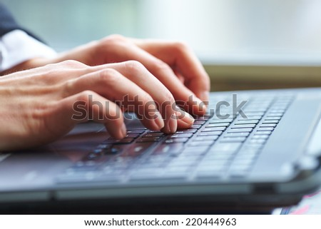female hands on keyboard