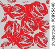 Floral background with red roses.Raster version - stock photo