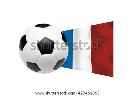 football soccer ball with the flag of France isolated on a white background