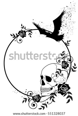 frame with skull, raven and roses in black and white colors