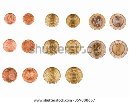 Full range of Euro coins currency of the European Union vintage