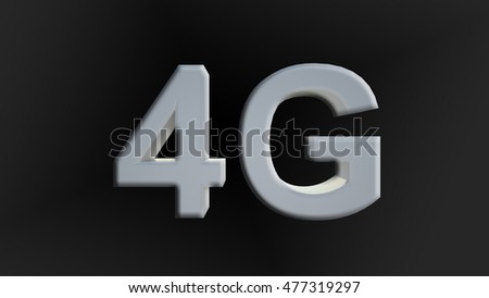 4G icon on black background.