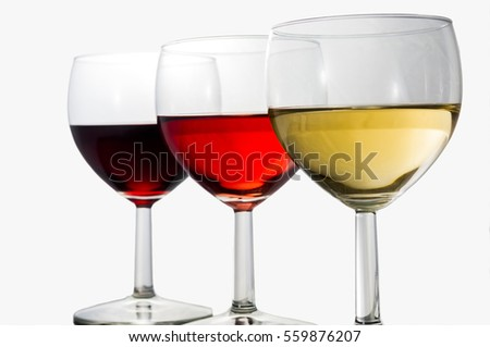 3 glasses of red, rose and white wine