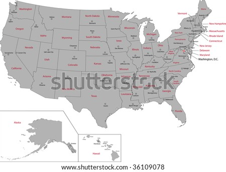 Gray Usa Map States Capital Cities Stock Vector - Us map states with cities