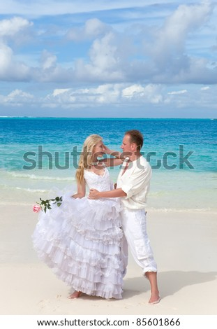 groom and the bride on the tropical beach.
