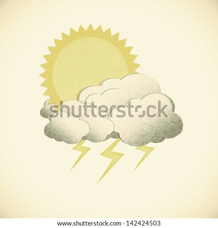 Grunge recycled paper sun with rain on vintage tone  background